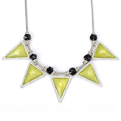 Elegant fluorescent yellow diamond decorated triangle shape design alloy Bib Necklaces