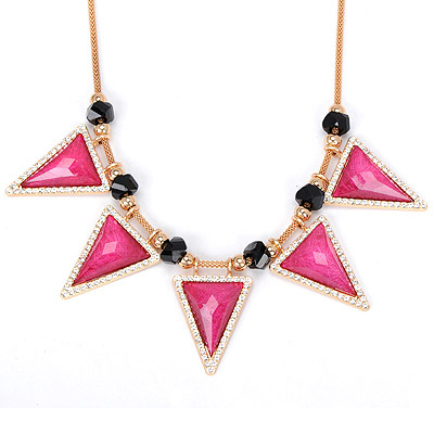 Alternativ plum red diamond decorated triangle shape design alloy Bib Necklaces