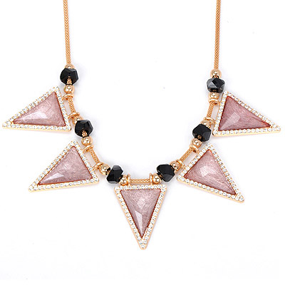 Funeral light pink diamond decorated triangle shape design alloy Bib Necklaces