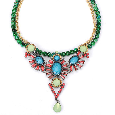 Colorful dark green gemstone decorated triangle pendant design alloy Bib Necklaces