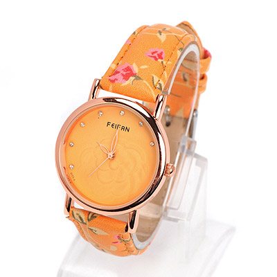 Fit yellow diamond decorated rose pattern design alloy Ladies Watches