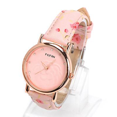 Vibrating pink diamond decorated rose pattern design alloy Ladies Watches