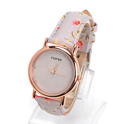 Scene gray diamond decorated rose pattern design alloy Ladies Watches