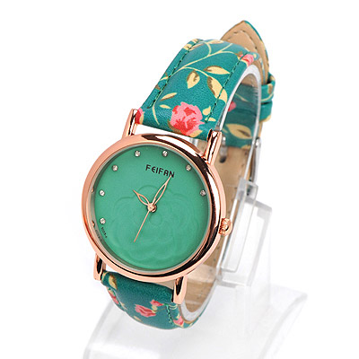 Recycled green diamond decorated rose pattern design alloy Ladies Watches