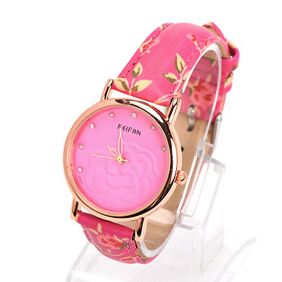 Gorgeous plum red diamond decorated rose pattern design alloy Ladies Watches