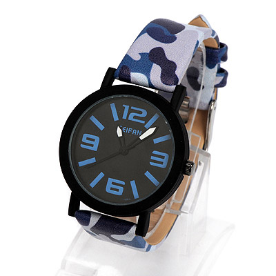 Venetian blue camouflage pattern simple design alloy Ladies Watches