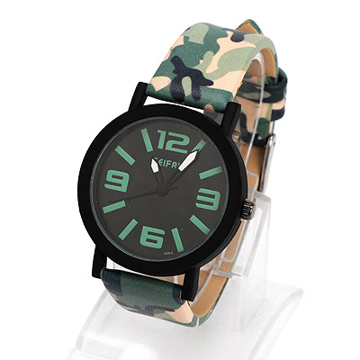 Corporate dark green camouflage pattern simple design alloy Ladies Watches