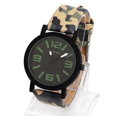 Etcetera light green camouflage pattern simple design alloy Ladies Watches