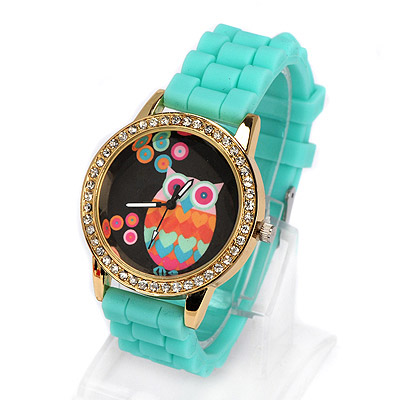 Cargo green diamond decorated owl pattern design alloy Ladies Watches
