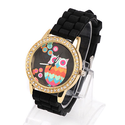 Woolrich black diamond decorated owl pattern design alloy Ladies Watches
