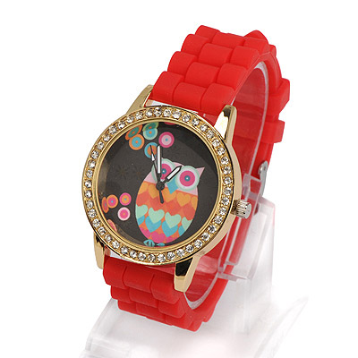 Recycled red diamond decorated owl pattern design alloy Ladies Watches