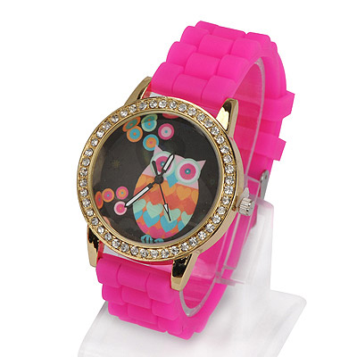 Greek plum red diamond decorated owl pattern design alloy Ladies Watches