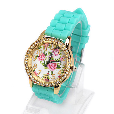 Healing green diamond decorated rose pattern design alloy Ladies Watches