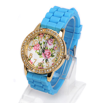 Sapphire blue diamond decorated rose pattern design alloy Ladies Watches