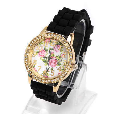 Expensive black diamond decorated rose pattern design alloy Ladies Watches