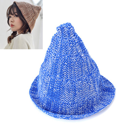 Golf blue & white curling simple design acrylic fibers Knitting Wool Hats