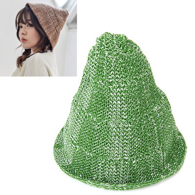 Attractive green & white curling simple design acrylic fibers Knitting Wool Hats