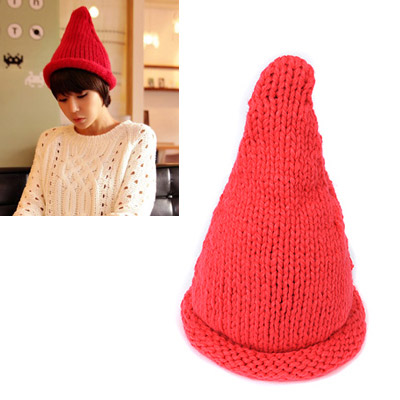 Elastic watermelon red curling steeple design wool Knitting Wool Hats