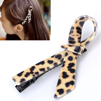 Lovable Leopard Color Bow Tie Shape Simple Design Alloy Hair clip hair claw