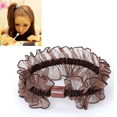 Japanese Dark Brown Gauze Decorated Simple Design Rubber Band Hair band hair hoop