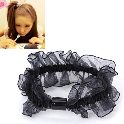Pregnancy Black Gauze Decorated Simple Design Rubber Band Hair band hair hoop