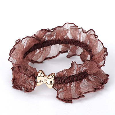 Afrocentri Dark Brown Bowknot Decorated Gauze Design Rubber Band Hair band hair hoop