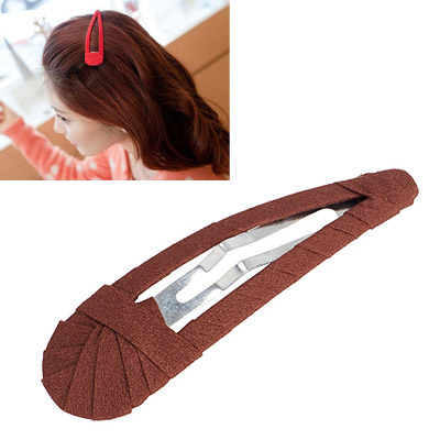 Magnifying Dark Coffee Pure Color Weave Design Alloy Hair clip hair claw