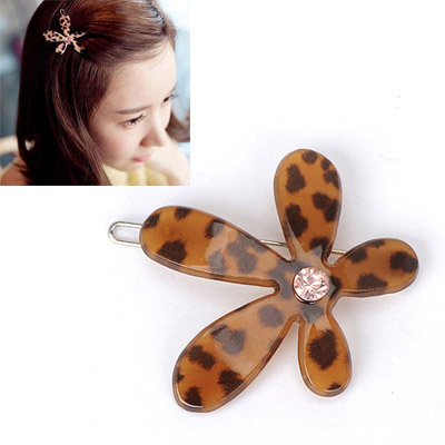Old Leopard Color Diamond Decorated Flower Design Alloy Hair clip hair claw