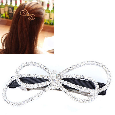 Childrens Silver Color Diamond Decorated Bowknot Shape Design Alloy Hair clip hair claw