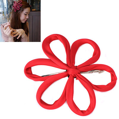 Lariat Red Flower Decorated Simple Design Alloy Hair clip hair claw