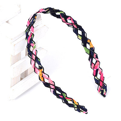 Mechanical Navy Blue & Pink Weave Simple Design Alloy Hair band hair hoop