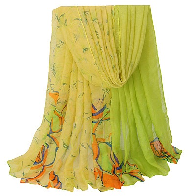 Turkish Yellow Large Flower Pattern Gradient Design Voile Thin Scaves