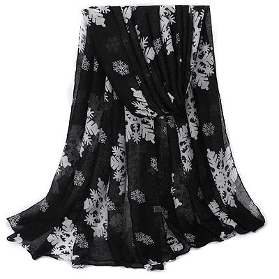 Native Black Snow Pattern Simple Design Voile Thin Scaves