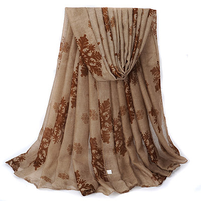 Equestrian Brown Snow Pattern Simple Design Voile Thin Scaves