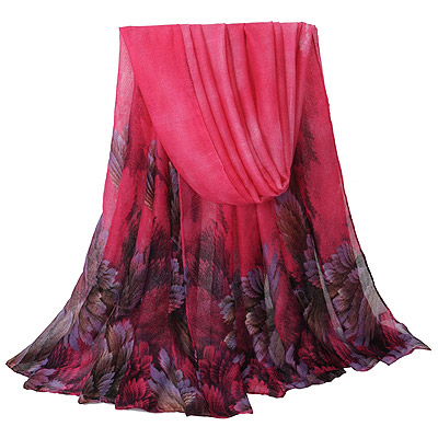 Montgomery Plum Red Leaf Pattern Simple Design Voile Thin Scaves
