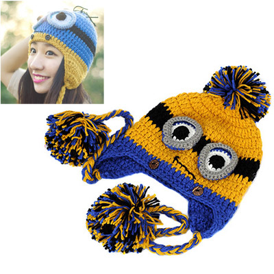 Skeleton Yellow Cartoon Shape Simple Design Wool Knitting Wool Hats