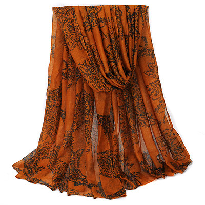 Renaissanc Brown Vine Pattern Simple Design Voile Thin Scaves