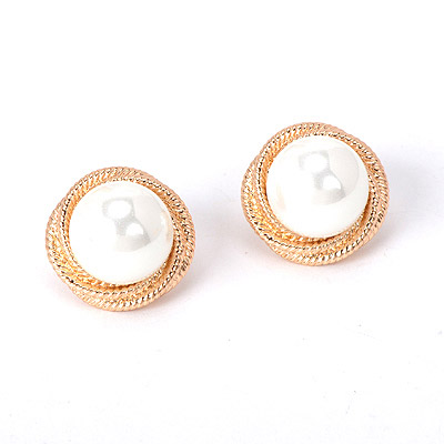 Liquid White Pearl Decorated Simple Design Alloy Stud Earrings