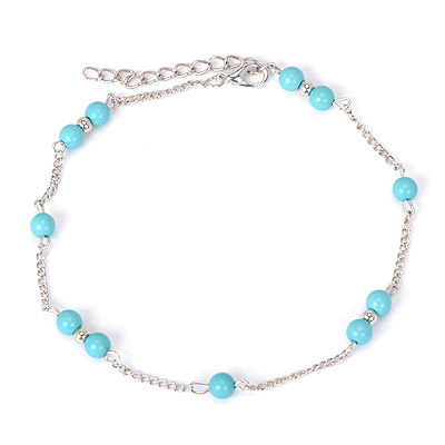 Retro Blue Beads Decorated Simple Design Alloy Fashion Anklets