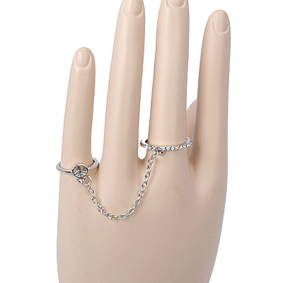 Beige Silver Color Peace Shape Decorated Double Rings Design Alloy Korean Rings