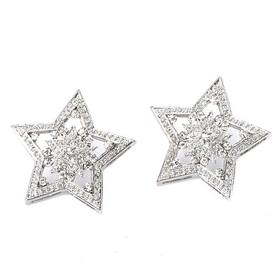 Electric Silver Color Diamond Decorated Star Shape Design Alloy Stud Earrings