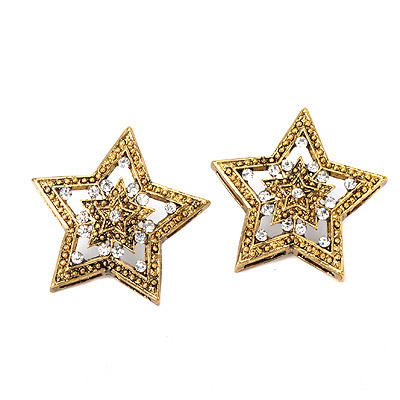 Rhinestone Gold Color Diamond Decorated Star Shape Design Alloy Stud Earrings