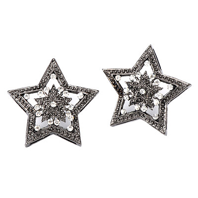 Magnifying Gun Black Diamond Decorated Star Shape Design Alloy Stud Earrings