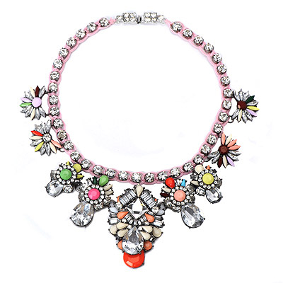 Funny Multicolor Gemstone Decorated Flower Design Alloy Bib Necklaces