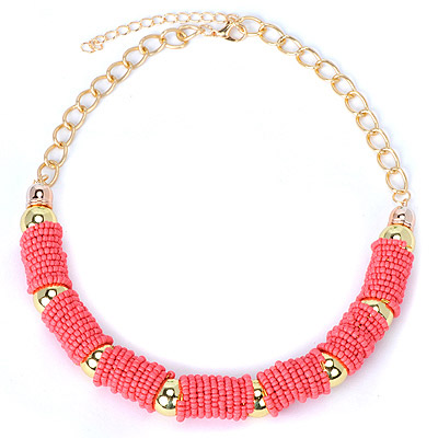 Liquid Watermelon Red Beads Decorated U-shape Design Alloy Chains
