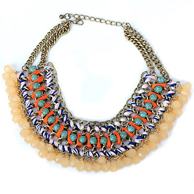 Barbie Blue Beads Decorated Weave Design Alloy Bib Necklaces