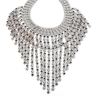 Homecoming Silver Color Matel Decorated Tassel Design Alloy Bib Necklaces