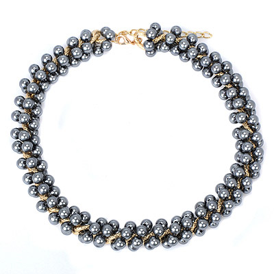 Brown Gray Beads Decorated Simple Design Alloy Bib Necklaces