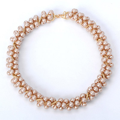 Pantsuit Champagne Beads  Decorated Simple Design Alloy Bib Necklaces