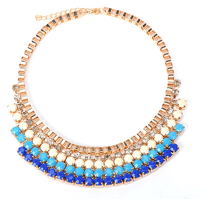 Tribal Blue Gemstone Decorated Multilayer Design Alloy Bib Necklaces